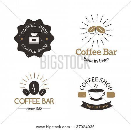 Coffee shop sign cafe symbol badge vector.
