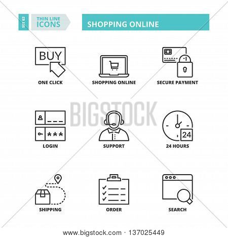 Flat symbols about shopping online. Thin line icons set.