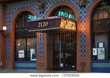BERKELEY, UNITED STATES - DECEMBER 21: The Entrance to the Marsh Arts building a young theater decorated with wall tiles and ornaments on December 21, 2015 in Berkeley.