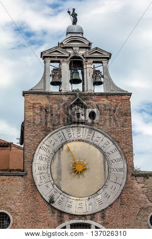 Belfry Of The Church San Giacomo Di Rialto In Venice, Italy
