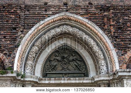 Entrance decoration of 15th century Basilica di San Giovanni e Paolo designed in the Italian Gothic style.