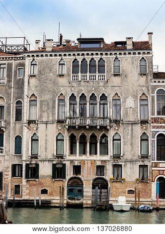 VENICE ITALY - MAY 1 2016: 17th century Palazzo Centani Morosini on the Grand Canal in Venice Italy