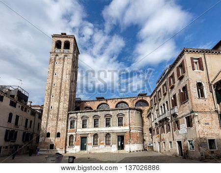 VENICE ITALY - MAY 2 2016: San Silvestro church in the Venetian district of San Polo.