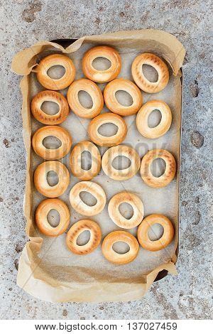 Fresh bagels. Stacked Freshly Baked Bread Bagels