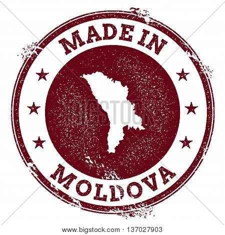 Moldova, Republic Of Vector Seal. Vintage Country Map Stamp. Grunge Rubber Stamp With Made In Moldov
