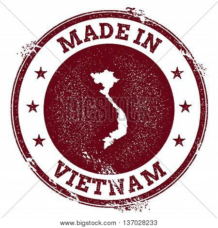 Vietnam Vector Seal. Vintage Country Map Stamp. Grunge Rubber Stamp With Made In Vietnam Text And Ma