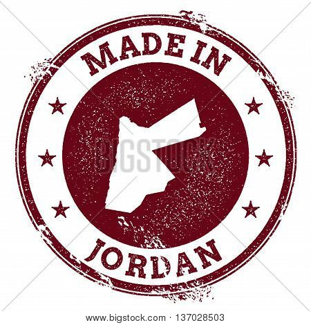 Jordan Vector Seal. Vintage Country Map Stamp. Grunge Rubber Stamp With Made In Jordan Text And Map,