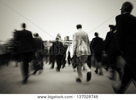 Crowd Of Businessmen On Their Way To Work Concept