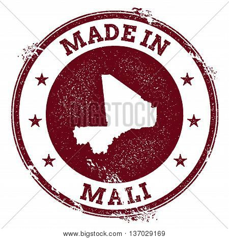 Mali Vector Seal. Vintage Country Map Stamp. Grunge Rubber Stamp With Made In Mali Text And Map, Vec