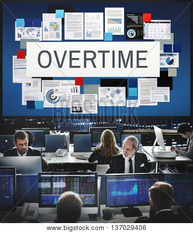 Overtime Stress Working Hours Job Late Career Concept