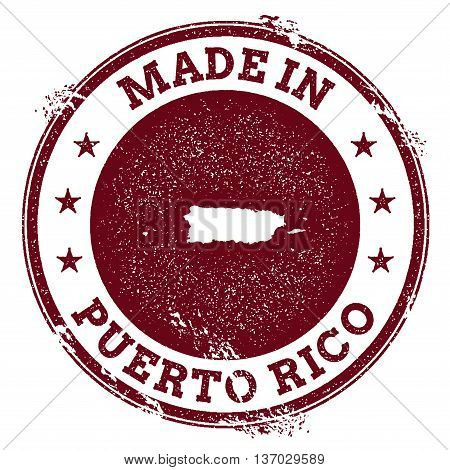 Puerto Rico Vector Seal. Vintage Country Map Stamp. Grunge Rubber Stamp With Made In Puerto Rico Tex