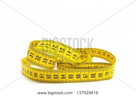 Sewing tape measure on white background