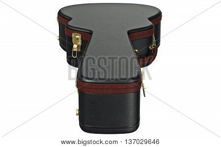 Guitar case black container, top view. 3D graphic