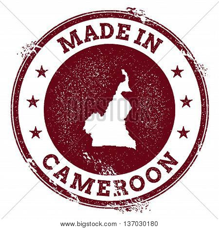 Cameroon Vector Seal. Vintage Country Map Stamp. Grunge Rubber Stamp With Made In Cameroon Text And