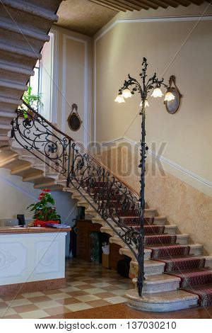 BELLAGIO, ITALY - JUNE, 12: View of classic Staircase of Hotel on june 12, 2016