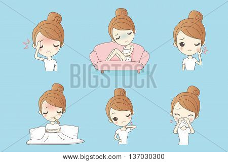 cartoon unhappy girl feel pain and sick Healthy Lifestyle Concept