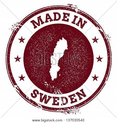 Sweden Vector Seal. Vintage Country Map Stamp. Grunge Rubber Stamp With Made In Sweden Text And Map,