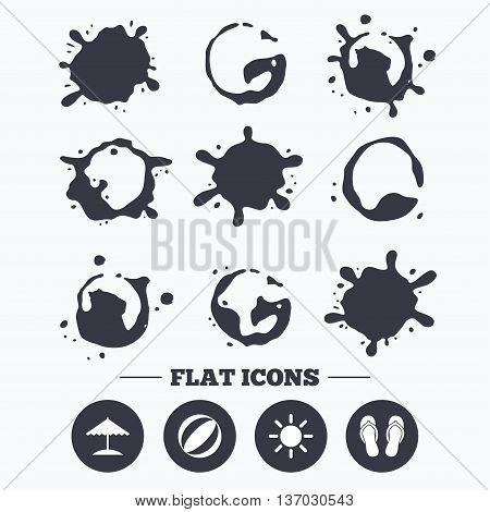 Paint, coffee or milk splash blots. Beach holidays icons. Ball, umbrella and flip-flops sandals signs. Summer sun symbol. Smudges splashes drops. Vector