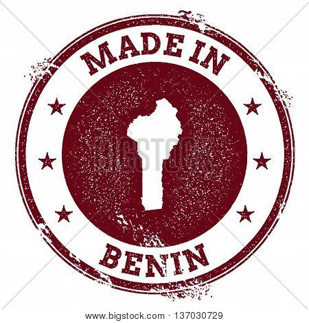 Benin Vector Seal. Vintage Country Map Stamp. Grunge Rubber Stamp With Made In Benin Text And Map, V