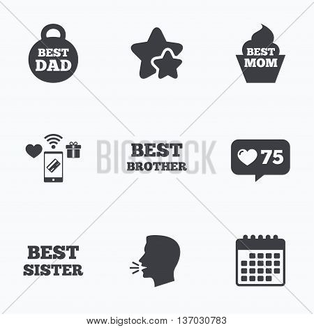 Best mom and dad, brother and sister icons. Weight and cupcake signs. Award symbols. Flat talking head, calendar icons. Stars, like counter icons. Vector