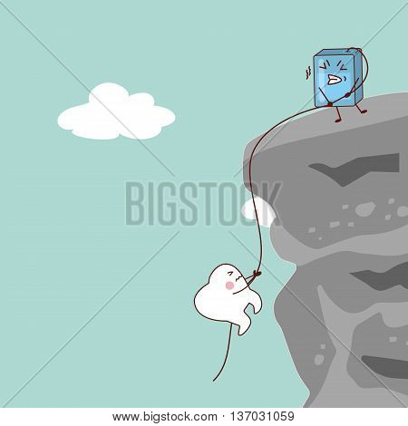 cartoon tooth with dental flossthe floss saving the tooth great for health dental care concept