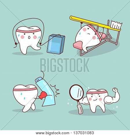 cartoon tooth with dental flosstooth brushtoothpaste and mirror training himselfgreat for health dental care concept