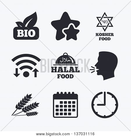 Natural Bio food icons. Halal and Kosher signs. Gluten free and star of David symbols. Wifi internet, favorite stars, calendar and clock. Talking head. Vector