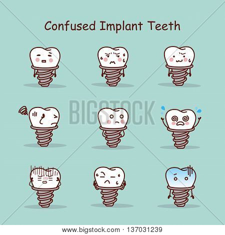 Confused cartoon tooth implant set great for your design