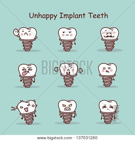 Unhappy cartoon tooth implant set great for your design