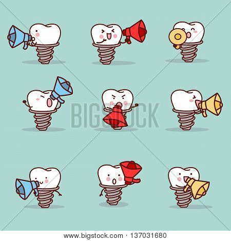 cute cartoon implant tooth with speaker set great for health dental care concept