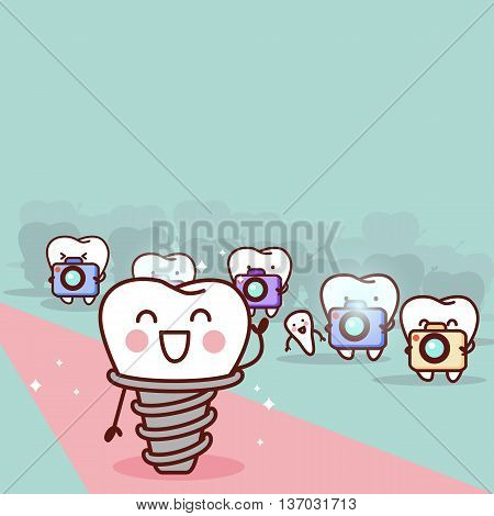 cartoon implant tooth with paparazzi great for health dental care concept