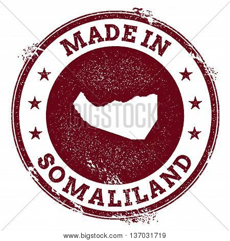 Somaliland Vector Seal. Vintage Country Map Stamp. Grunge Rubber Stamp With Made In Somaliland Text