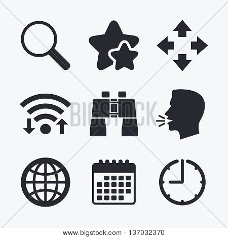 Magnifier glass and globe search icons. Fullscreen arrows and binocular search sign symbols. Wifi internet, favorite stars, calendar and clock. Talking head. Vector