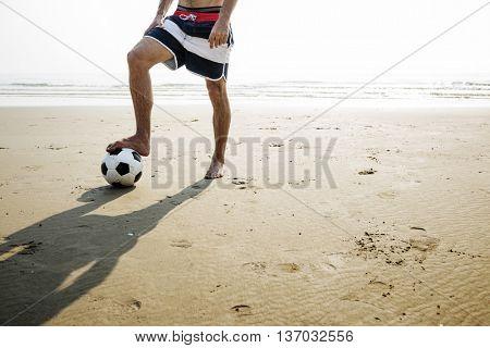 Football Beach Playful Vacation Leisure Activity Concept