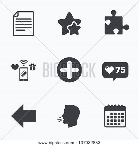 Plus add circle and puzzle piece icons. Document file and back arrow sign symbols. Flat talking head, calendar icons. Stars, like counter icons. Vector