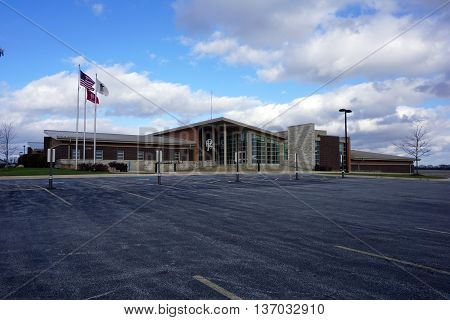 PLAINFIELD, ILLINOIS / UNITED STATES - DECEMBER 1, 2015:  The headquarters office building of the Plainfield Fire Protection District includes new training facilities.