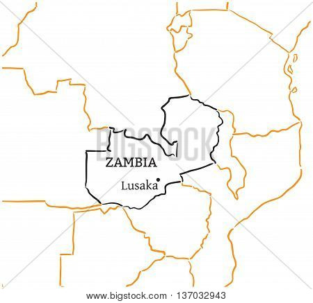 Zambia country with its capital Lusaka in Africa hand-drawn sketch map isolated on white