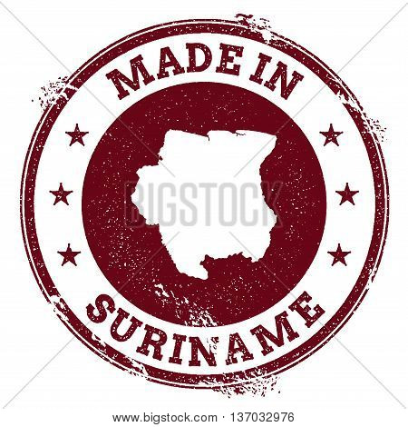 Suriname Vector Seal. Vintage Country Map Stamp. Grunge Rubber Stamp With Made In Suriname Text And