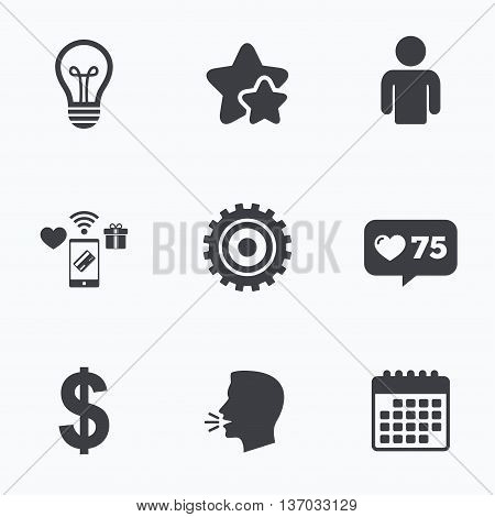 Business icons. Human silhouette and lamp bulb idea signs. Dollar currency and gear symbols. Flat talking head, calendar icons. Stars, like counter icons. Vector