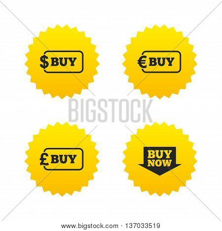 Buy now arrow icon. Online shopping signs. Dollar, euro and pound money currency symbols. Yellow stars labels with flat icons. Vector