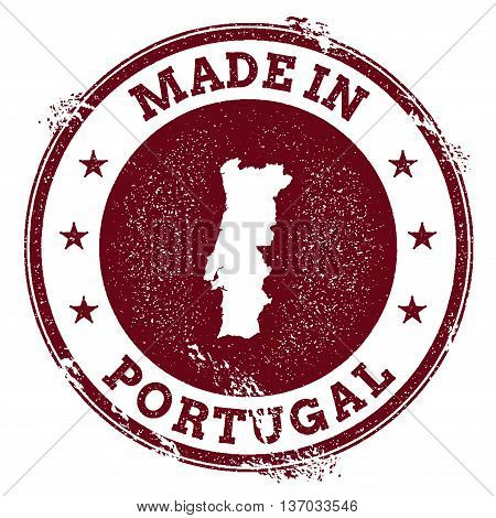 Portugal Vector Seal. Vintage Country Map Stamp. Grunge Rubber Stamp With Made In Portugal Text And
