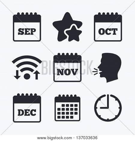 Calendar icons. September, November, October and December month symbols. Date or event reminder sign. Wifi internet, favorite stars, calendar and clock. Talking head. Vector