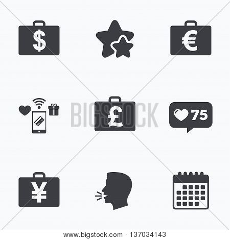 Businessman case icons. Cash money diplomat signs. Dollar, euro and pound symbols. Flat talking head, calendar icons. Stars, like counter icons. Vector