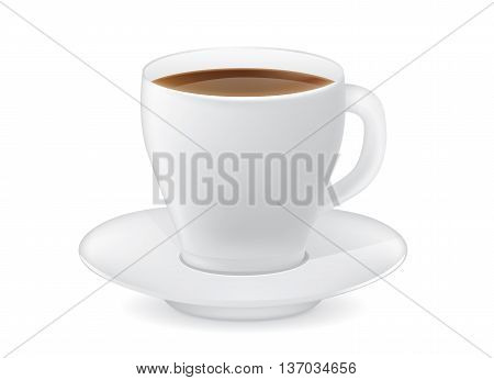 White coffee cup vector and saucer isolated on white background.