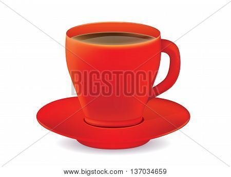 Red coffee glass vector and saucer isolated on white background.
