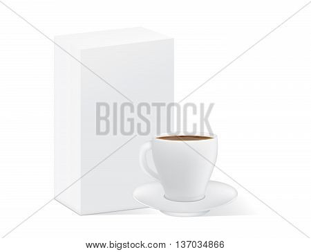 White coffee cup and saucer near white paper box isolated on white. This illustration for pack shot of coffee, tea, or other drink.