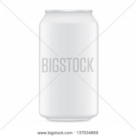 White beverage can vector isolated on white background.