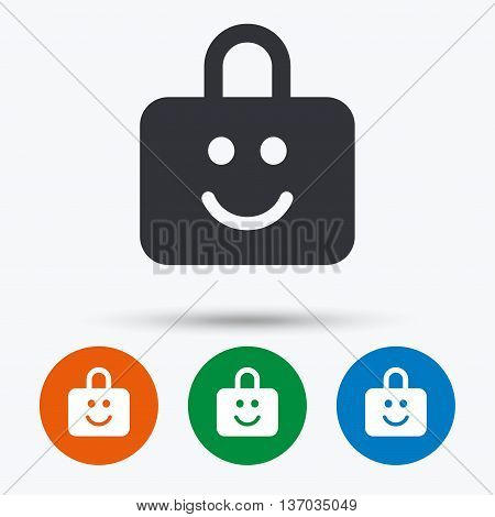 Child lock icon. Locker with smile symbol. Child protection. Round circle buttons with icon. Vector