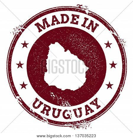 Uruguay Vector Seal. Vintage Country Map Stamp. Grunge Rubber Stamp With Made In Uruguay Text And Ma