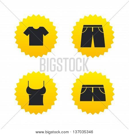 Clothes icons. T-shirt and pants with shorts signs. Swimming trunks symbol. Yellow stars labels with flat icons. Vector